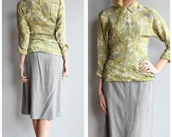 1950s Skirt // Grey Wool Blend Skirt // vintage 50s skirt