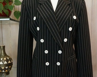 Free Shipping! Vtg 90's ESCADA by Margaretha Ley Pinstriped Blazer in Black and White- Size  EU 42 = US Size 12