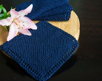 Navy Blue Cotton Hand Knit Dishcloth