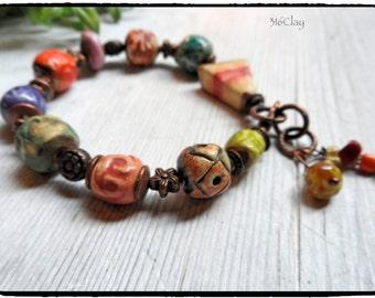 Pottery Beaded Bracelet Gift for Her