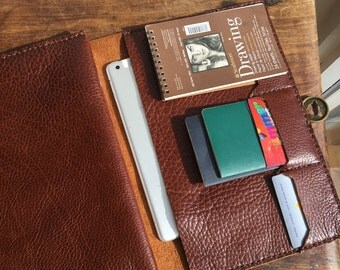 Prospect notebook / large leather folio organizer / large notebook with pockets / iPad pocket / business Folio / leather gift for him or her