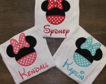 Minnie Mouse Inspired Shirt, Disney Vacation, Minnie Birthday, Shirt or Bodysuit, SET of THREE, You Design