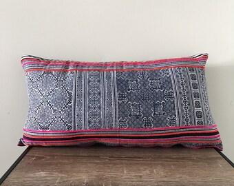 Vintage Hmong Batik lumbar cushion cover