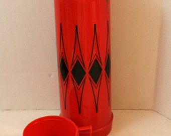 vintage red and black thermos filler 24F cup 84a73 kitch dishes drinkware