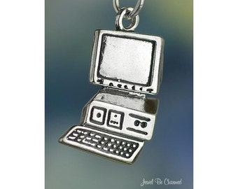 Sterling Silver Desktop PC Personal Computer Charm Solid .925