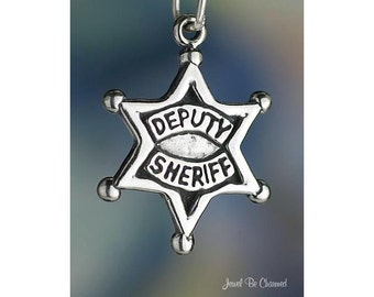 Sterling Silver Deputy Sheriff Badge Charm Law Enforcement Officer 925
