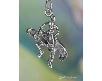 Sterling Silver Bucking Bronco Charm Rodeo Horse Rider 3D Solid .925