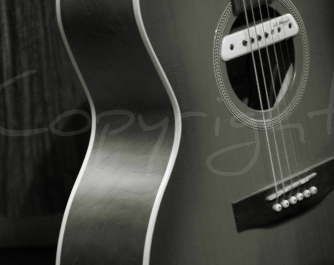 Print, Sepia, Guitar, Musical Instrument, Music, Home Decor, Guitarist Gift, Photography Gift Ideas, Acoustic Guitar