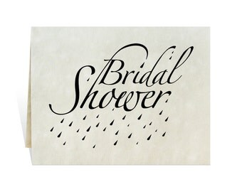 Bridal shower card art for wedding engagement party celebration invitations with elegant lettering, showering raindrops, kit you print black
