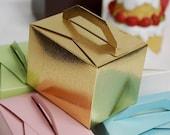 100 Gold Favor Boxes, Favor Box, Bulk Favor Boxes, Cake Favor Box, Large Favor Box, Wedding Favors, Size: 4 x 3 x 3 in
