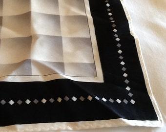 Vintage Square Silk Pocket Square Black Gray and White Ombré Checkerboard