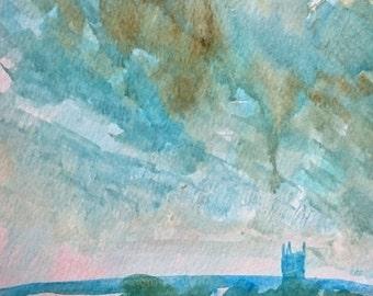 Winter Over Romney Marsh 3; Original Watercolour Painting
