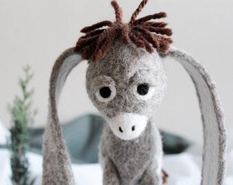 Nestor - The Long-Eared Christmas Donkey. Art Toy. Standing Felted donkey Stuffed Organic toy felt animal . natural undyed wool.