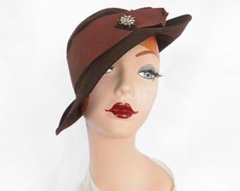 1930s tilt fedora hat, vintage slouch, brown