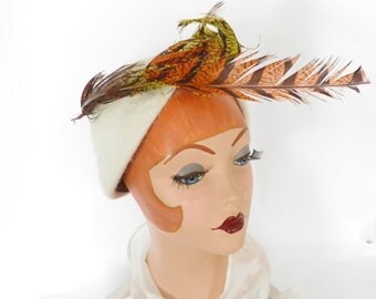 Vintage 1960s hat, mod white with feathers- orange and yellow, Italy