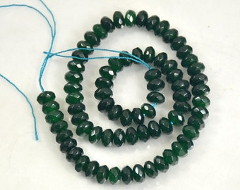 Charm Rondelle Heishi Faceted Green Candy Jade 8mmx5mm Gemstone Beads Full One Strand