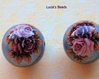 Pair of Beautiful Japanese Tensha Beads Pink Twin Roses on Metallic Silver 12 MM - (TBTR112)