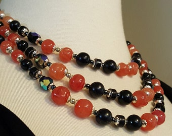 VTG Triple Strand Black & Peach Necklace