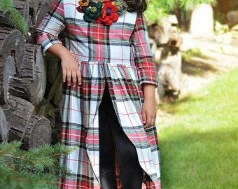 Girl's plaid split front blanket dress