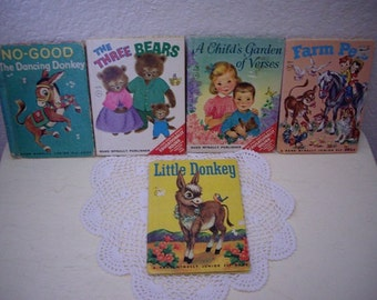 Five Vintage Storybooks, Goldilocks and the Three Bears, A Child's Garden of Verses, No Good Dancing Donkey, Farm Pets and Little Donkey
