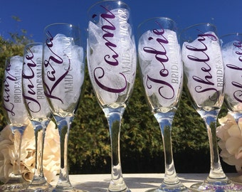 Plum champagne glasses, personalized bridesmaid champagne flutes, toasting glasses, bridesmaids champagne glasses