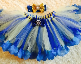 MSU Inspired Montana State University blue 18 months to 3t petal tutu with matching sequin headband and sequin hairbows