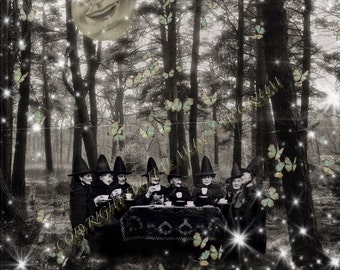 The Witches Tea Party Instant Download Vintage Photograph