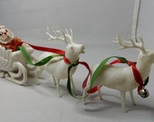 Hard Plastic SANTA in Sleigh w/ Reindeer Christmas Candy Container Ornaments