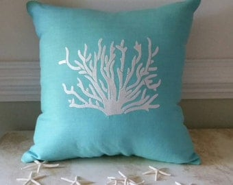 Beach Decor Turquoise Blue, Throw Pillow, Linen Coral Embroidered 16x16 Pillow
