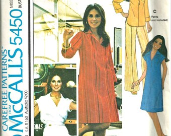 1970s Vintage McCall's 5450 Marlo Thomas Dress or Top Pattern  Size 8 Clearance Sale