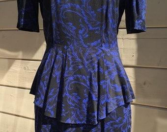 Vintage 1980s Peplum Dress