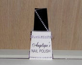 Black and White Personalized Paper Nail Polish Bottle Gift Box, Favor Box, other colors available