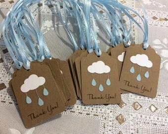 10 Rain Cloud Tags - Baby Shower baby blue raindrop Cloud Raindrop  Kraft tags Baby shower favors tags