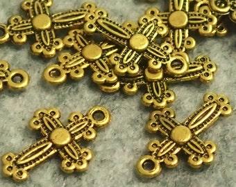 Antique Gold Antique Cross Pendant/Charms - 20/100pcs