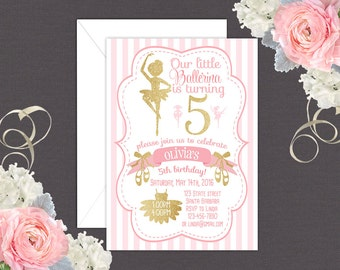 Ballerina Birthday Invitation in Pink and Gold, Ballet Birthday Invitation, Ballerina Party, Ballet Party, Ballet, Ballerina- Personalized