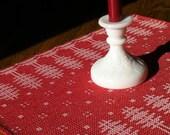Table Runner, Handwoven Runner, Red and White, Dresser Scarf, Christmas Decor, Swedish Runner, Hand Woven Runner, Table Linens, Table Mat