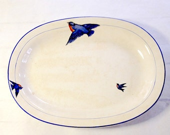 Large antique BLUEBIRD platter, Saxon China, Sebring, Ohio, 1920s, vintage BLUE BIRD collectible, Knowles Taylor Knowles style