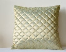 Gold with a hint of Duck Egg Quilted Metallic Pillow Cover, Beautiful Gold Quilted Cushion with a shot of Duck Egg , Gold Metallic Pillow