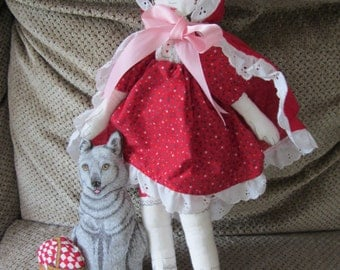 Red Riding Hood - completed Printed Sewing Panel doll, wolf, basket, cape