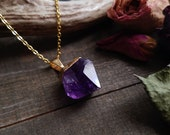 Gold Plated Amethyst Point Necklace // Crystal Jewelry // Birthstone // Amethyst Necklace