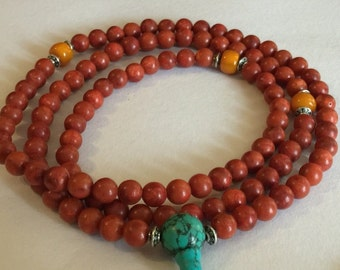 Tibetan Mala Coral Mala 108 Beads with Tibetan Turquoise Guru Bead for Meditation