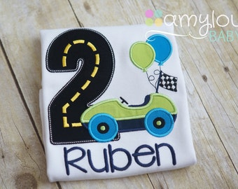 Car Birthday Toddler Tee Shirt - Navy Blue and Green Short or Long Sleeves - Party - Boy- Child - Race Car