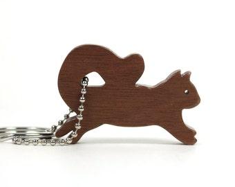 Wood Squirrel Key Chain Wooden Squirrel Key Ring Scroll Saw Woodland Animal Key Fob Squirrel Accessory Walnut