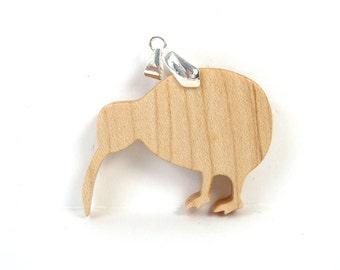 Kiwi Necklace New Zealand Animal Pendant Kiwi Jewelry Maple Hand Cut Scroll Saw