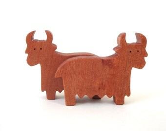 Wood Toy Miniature Yak Noah's Ark Animals Mongolian Farm Play Set Yak Toy Figurine Myrtle
