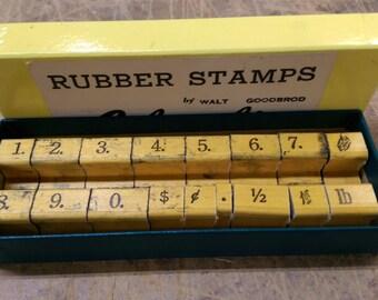Vintage Rubber Stamp Set Columbia Walt Goodbrod Original Box