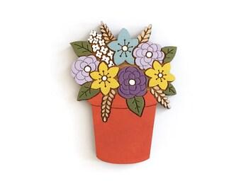 Flower pot brooch ~ hand painted laser cut brooch