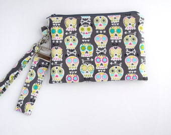 Cell Phone Wristlet Purse, Key Fob, Skull Purse, Gift Set for Her, Handmade, Ready to Ship