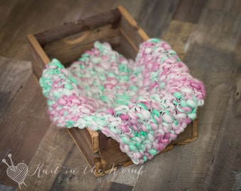 Handspun Mini Blanket - Newborn - READY TO SHIP - ooak - photo prop