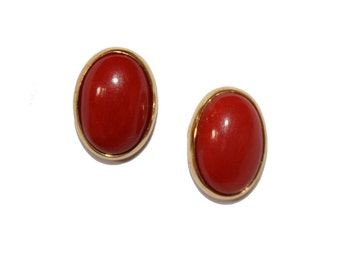 Vintage Coral 18kt Gold Earrings - Elegant button Earrings Post earrings natural red coral jewelry